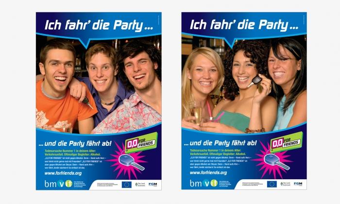 """Plakate """"Ich fahr die Party und die Party fährt ab"""""""